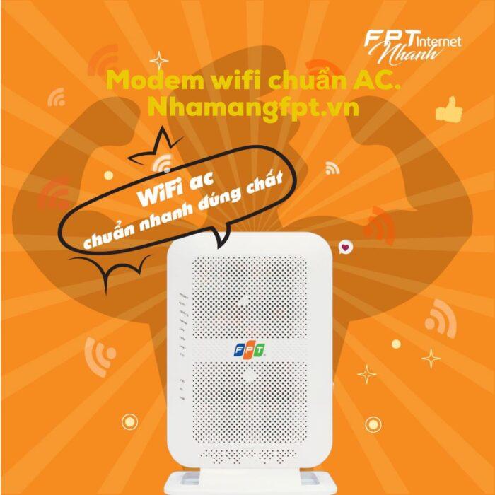 Modem wifi FPT cung cấp hiện nay toàn bộ đều chuẩn AC 2 băng tần 2.4Ghz và 5.0Ghz.