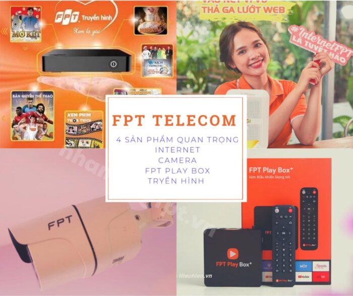 4 sản phẩm quan trọng của FPT Telecom: Internet, truyền hình, camera và FPT Play Box.