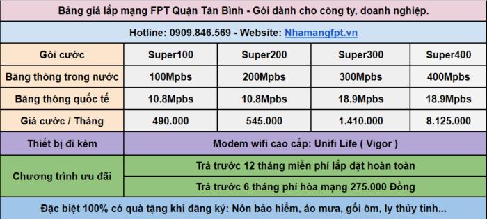 Bảng giá internet FPT dành cho công ty, doanh nghiệp ở Quận Tân Bình