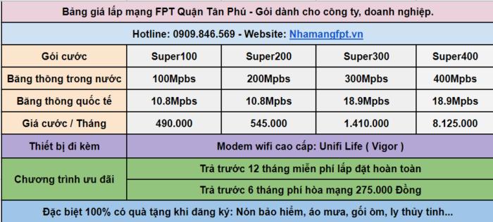 Bảng giắ lắp internet FPT dành cho công ty, doanh nghiệp Quận Tân Phú.