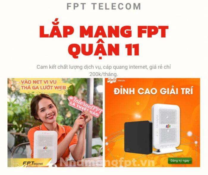 Dịch vụ lắp mạng FPT Quận 11 chất lượng cao xin kính chào quý khách.