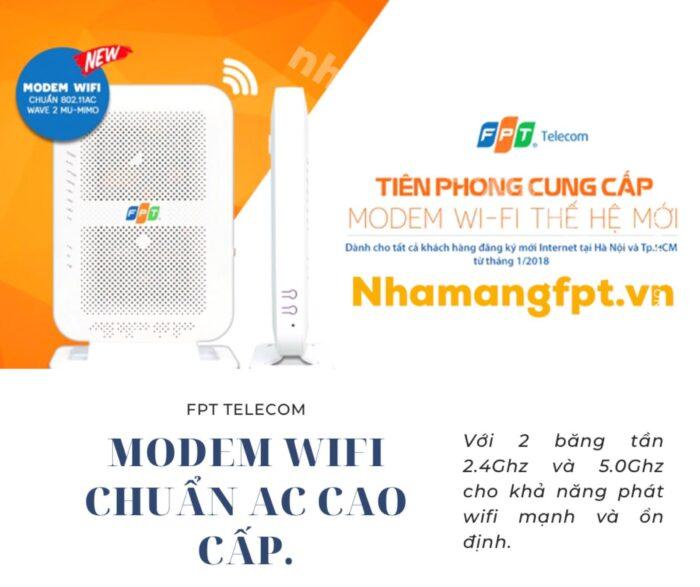 100% khách hàng được cung cấp modem wifi chuẩn AC cao cấp khi đăng ký lắp mới internet FPT.