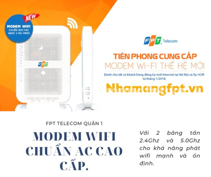 FPT triển khai toàn bộ 100% modem wifi dành cho khách hàng đăng ký lắp mới.