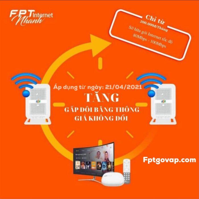 Gói Super80 FPT được tăng băng thông lên từ gói Super45.