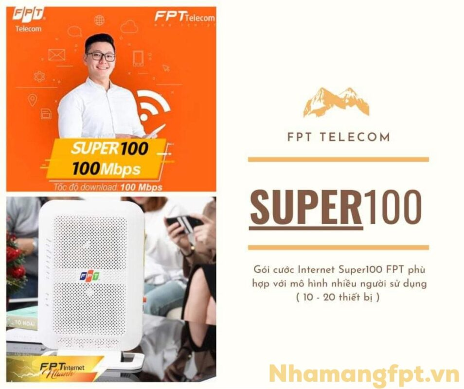 Giới thiệu gói cước Super100 FPT có tốc độ băng thông cao lên đến 100Mpbs.