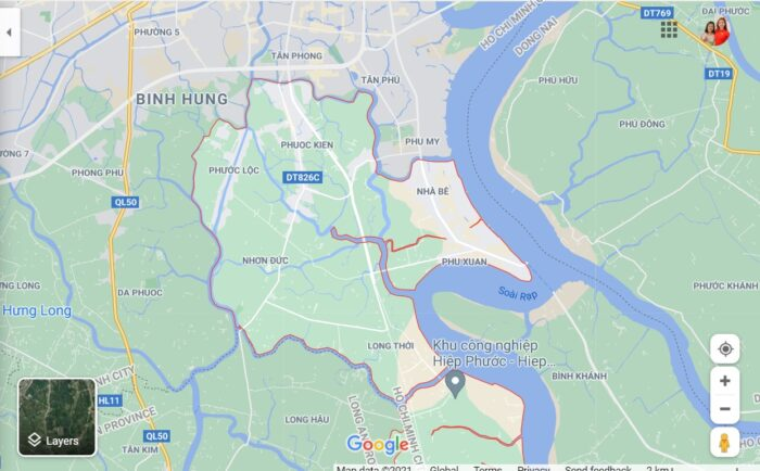 Bản đồ Huyện Nhà Bè mới nhất.